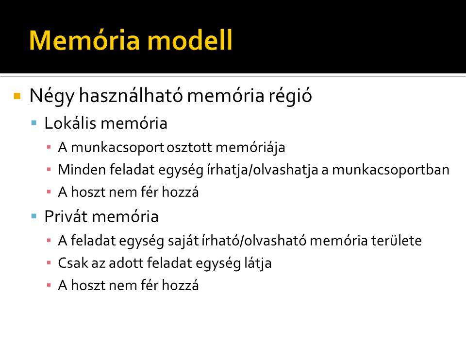  Négy használható memória régió  Lokális memória ▪ A munkacsoport osztott memóriája ▪ Minden feladat egység írhatja/olvashatja a munkacsoportban ▪ A hoszt nem fér hozzá  Privát memória ▪ A feladat egység saját írható/olvasható memória területe ▪ Csak az adott feladat egység látja ▪ A hoszt nem fér hozzá