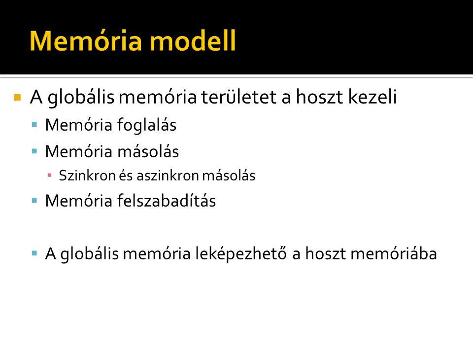  A globális memória területet a hoszt kezeli  Memória foglalás  Memória másolás ▪ Szinkron és aszinkron másolás  Memória felszabadítás  A globális memória leképezhető a hoszt memóriába