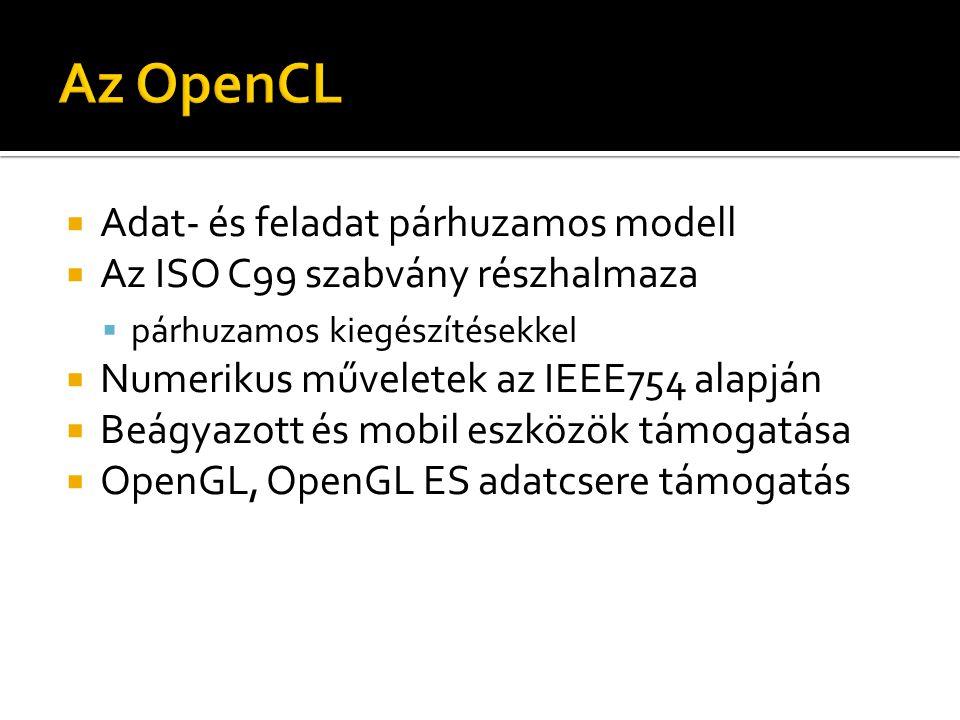  Adat- és feladat párhuzamos modell  Az ISO C99 szabvány részhalmaza  párhuzamos kiegészítésekkel  Numerikus műveletek az IEEE754 alapján  Beágyazott és mobil eszközök támogatása  OpenGL, OpenGL ES adatcsere támogatás