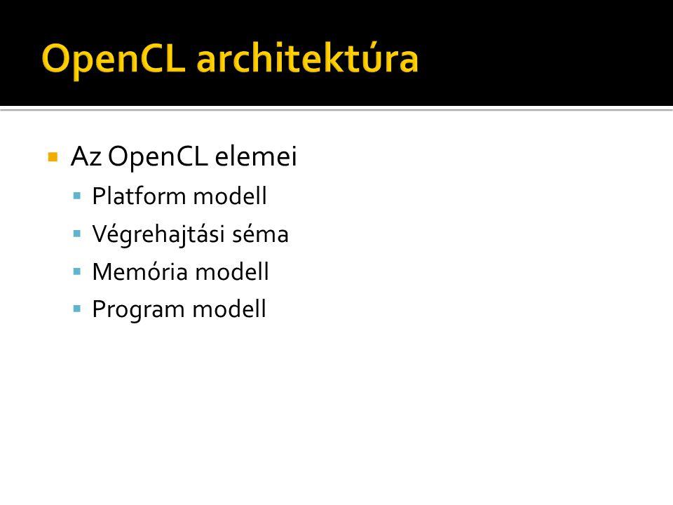  Hoszt eszköz  OpenCL eszközök  Számító egységek (CU)  Feldolgozó egységek (PE) ▪ SIMD (közös utasítás számláló) ▪ SPMD (saját utasítás számláló) Hoszt PE CUOpenCL eszköz