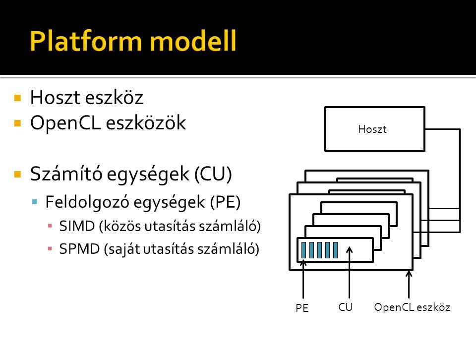  Hoszt eszköz  OpenCL eszközök  Számító egységek (CU)  Feldolgozó egységek (PE) ▪ SIMD (közös utasítás számláló) ▪ SPMD (saját utasítás számláló)