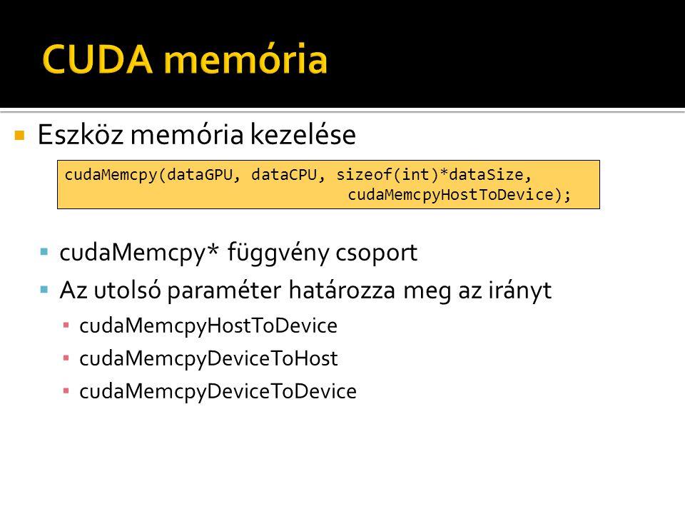  Eszköz memória kezelése  cudaMemcpy* függvény csoport  Az utolsó paraméter határozza meg az irányt ▪ cudaMemcpyHostToDevice ▪ cudaMemcpyDeviceToHost ▪ cudaMemcpyDeviceToDevice cudaMemcpy(dataGPU, dataCPU, sizeof(int)*dataSize, cudaMemcpyHostToDevice);