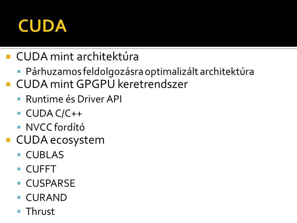  CUDA mint architektúra  Párhuzamos feldolgozásra optimalizált architektúra  CUDA mint GPGPU keretrendszer  Runtime és Driver API  CUDA C/C++  NVCC fordító  CUDA ecosystem  CUBLAS  CUFFT  CUSPARSE  CURAND  Thrust