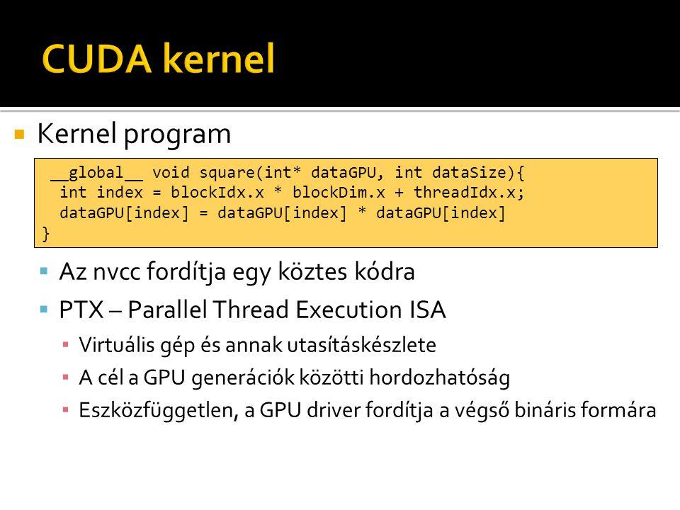 Kernel program  Az nvcc fordítja egy köztes kódra  PTX – Parallel Thread Execution ISA ▪ Virtuális gép és annak utasításkészlete ▪ A cél a GPU generációk közötti hordozhatóság ▪ Eszközfüggetlen, a GPU driver fordítja a végső bináris formára __global__ void square(int* dataGPU, int dataSize){ int index = blockIdx.x * blockDim.x + threadIdx.x; dataGPU[index] = dataGPU[index] * dataGPU[index] }