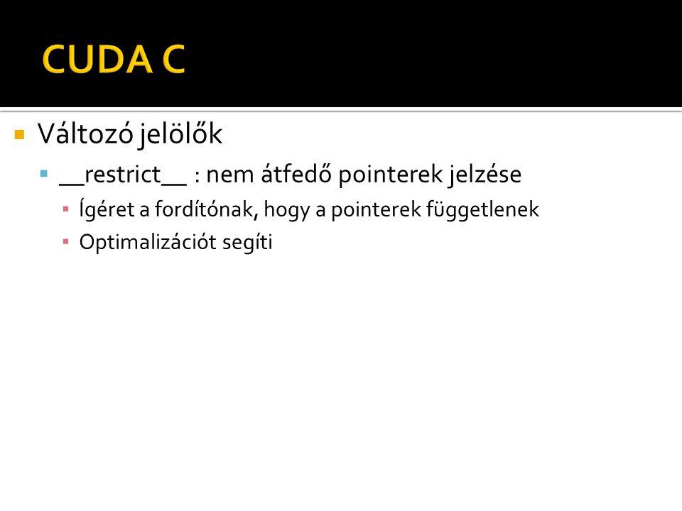  Változó jelölők  __restrict__ : nem átfedő pointerek jelzése ▪ Ígéret a fordítónak, hogy a pointerek függetlenek ▪ Optimalizációt segíti