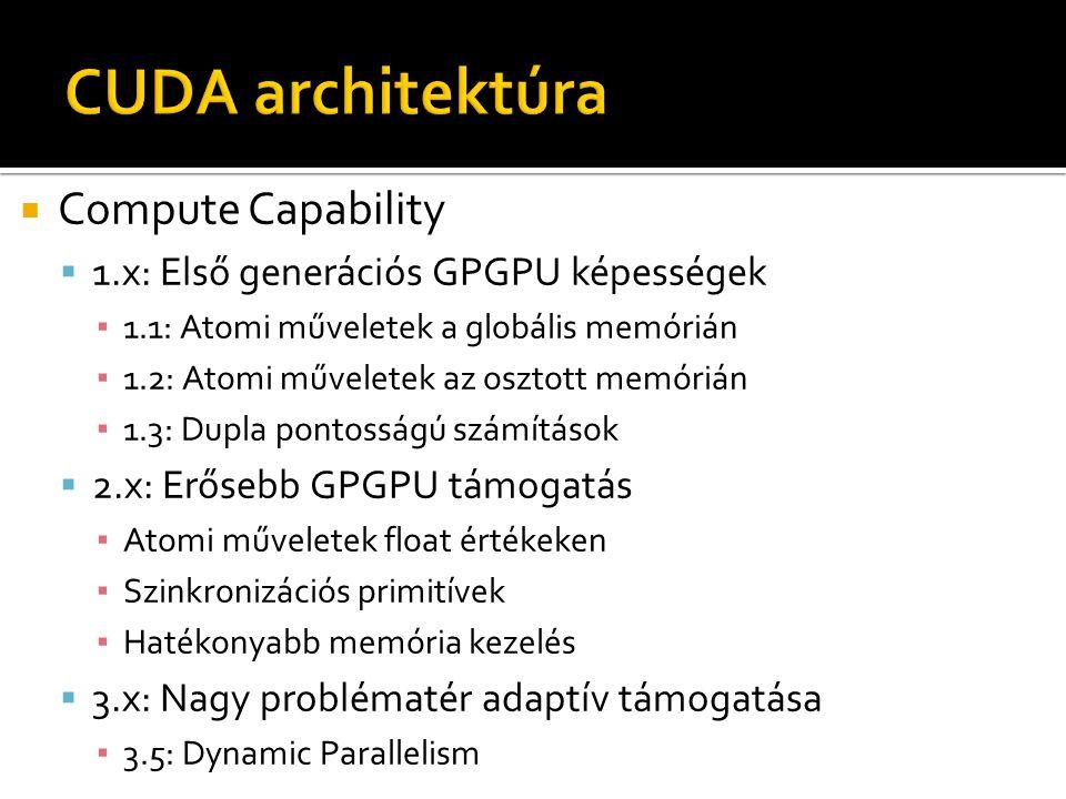  Compute Capability  1.x: Első generációs GPGPU képességek ▪ 1.1: Atomi műveletek a globális memórián ▪ 1.2: Atomi műveletek az osztott memórián ▪ 1.3: Dupla pontosságú számítások  2.x: Erősebb GPGPU támogatás ▪ Atomi műveletek float értékeken ▪ Szinkronizációs primitívek ▪ Hatékonyabb memória kezelés  3.x: Nagy problématér adaptív támogatása ▪ 3.5: Dynamic Parallelism