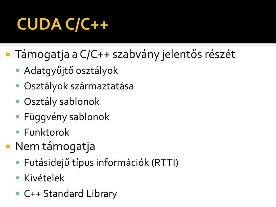  Támogatja a C/C++ szabvány jelentős részét  Adatgyűjtő osztályok  Osztályok származtatása  Osztály sablonok  Függvény sablonok  Funktorok  Nem támogatja  Futásidejű típus információk (RTTI)  Kivételek  C++ Standard Library