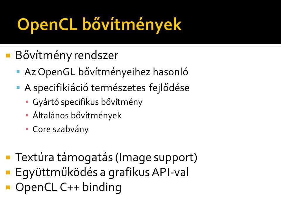  Bővítmény rendszer  Az OpenGL bővítményeihez hasonló  A specifikiáció természetes fejlődése ▪ Gyártó specifikus bővítmény ▪ Általános bővítmények