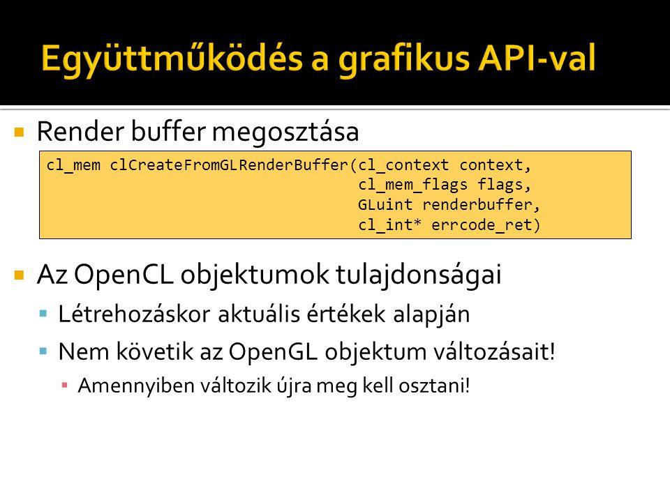  Render buffer megosztása  Az OpenCL objektumok tulajdonságai  Létrehozáskor aktuális értékek alapján  Nem követik az OpenGL objektum változásait!