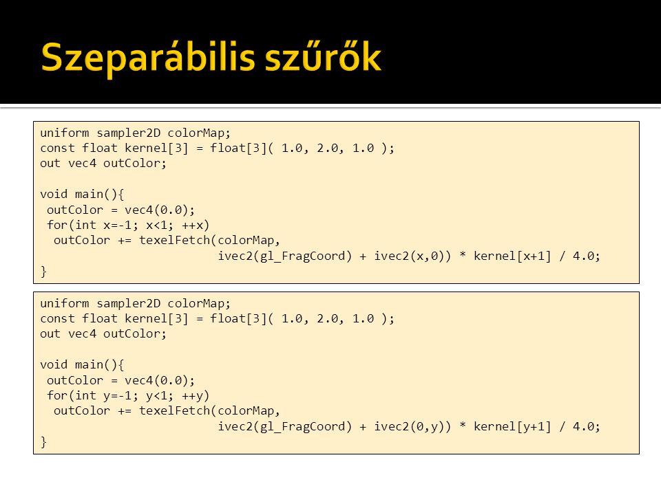 uniform sampler2D colorMap; uniform vec2 textureSize; in vec2 fTexCoord; out vec4 outColor; const float ONE_PER_SQRT_TWOPI = 0.3989; float w1(float x){ return ONE_PER_SQRT_TWOPI / sigma / sigma * exp(-x*x/2.0/sigma/sigma); } void main(){ outColor = vec4(0.0); for(int i= -N/2; i<N/2; ++i){ float d = i / textureSize.x; outColor += texture(colorMap, fTexCoord – vec2(d,0.0)) * w1(d); }