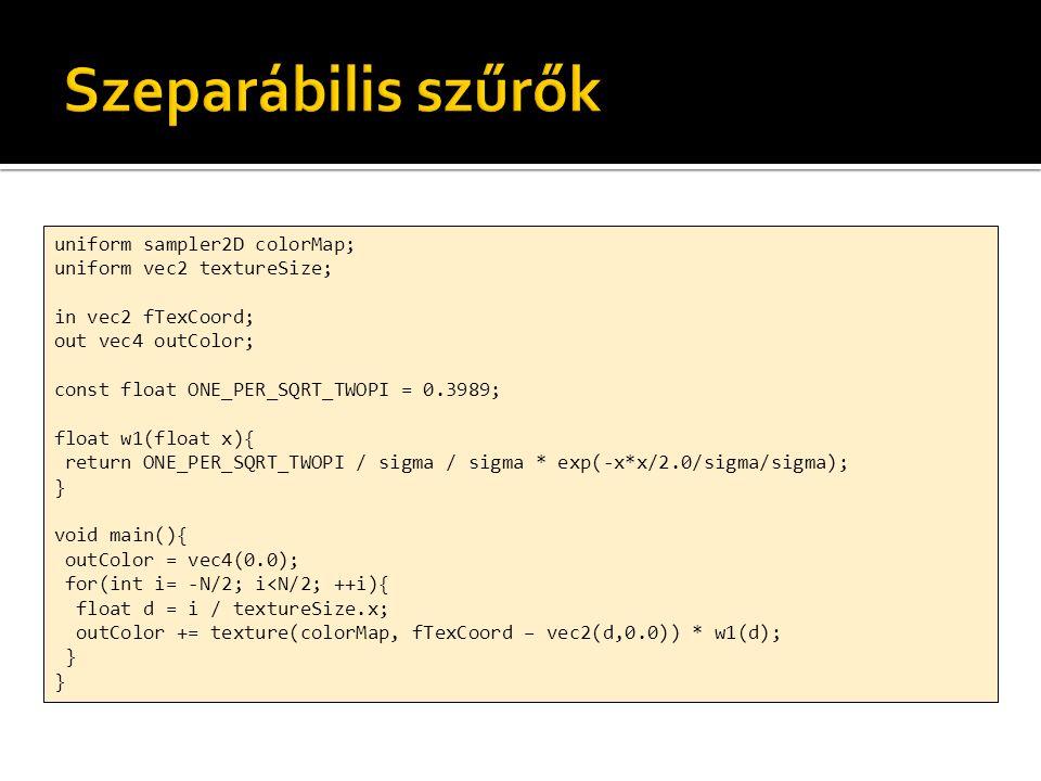 uniform sampler2D inputMap; out vec4 outColor; const float deltat = 0.0001; const float deltax = 0.01; const float sqrc = 20.0; void main(void){ vec4 data = texelFetch(inputMap, ivec2(gl_FragCoord), 0); float u = data.x; float v = data.y; float d2u = texelFetch(inputMap, ivec2(gl_FragCoord) + ivec2(-1, 0),0).x + texelFetch(inputMap, ivec2(gl_FragCoord) + ivec2( 1, 0),0).x + texelFetch(inputMap, ivec2(gl_FragCoord) + ivec2( 0, -1),0).x + texelFetch(inputMap, ivec2(gl_FragCoord) + ivec2( 0, 1),0).x - 4 * u; float um = u + v * deltat / 2.0; float vm = v + sqrc * d2u * deltat / 2.0; outColor = vec4(u, v, um, vm); }