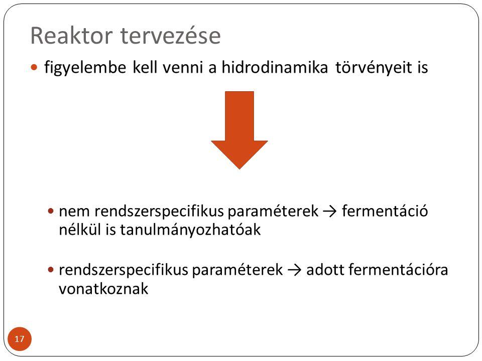Reaktor tervezése figyelembe kell venni a hidrodinamika törvényeit is nem rendszerspecifikus paraméterek → fermentáció nélkül is tanulmányozhatóak ren