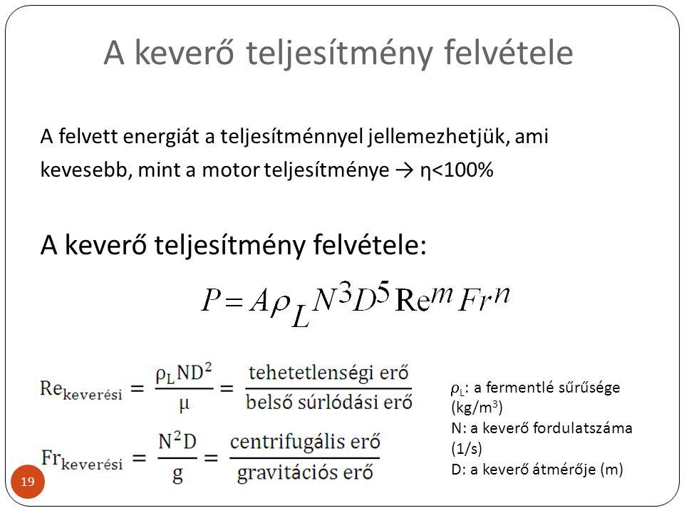 A keverő teljesítmény felvétele A felvett energiát a teljesítménnyel jellemezhetjük, ami kevesebb, mint a motor teljesítménye → η<100% A keverő teljes