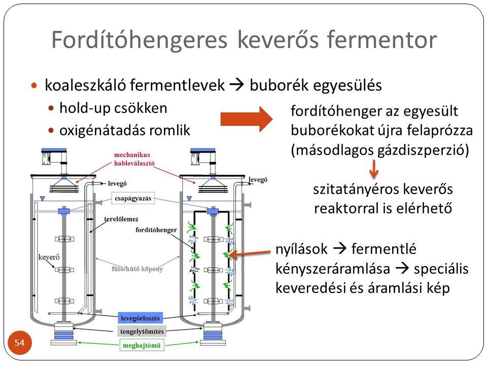 Fordítóhengeres keverős fermentor koaleszkáló fermentlevek  buborék egyesülés hold-up csökken oxigénátadás romlik fordítóhenger az egyesült buborékok