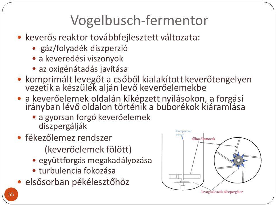 Vogelbusch-fermentor keverős reaktor továbbfejlesztett változata: gáz/folyadék diszperzió a keveredési viszonyok az oxigénátadás javítása komprimált l