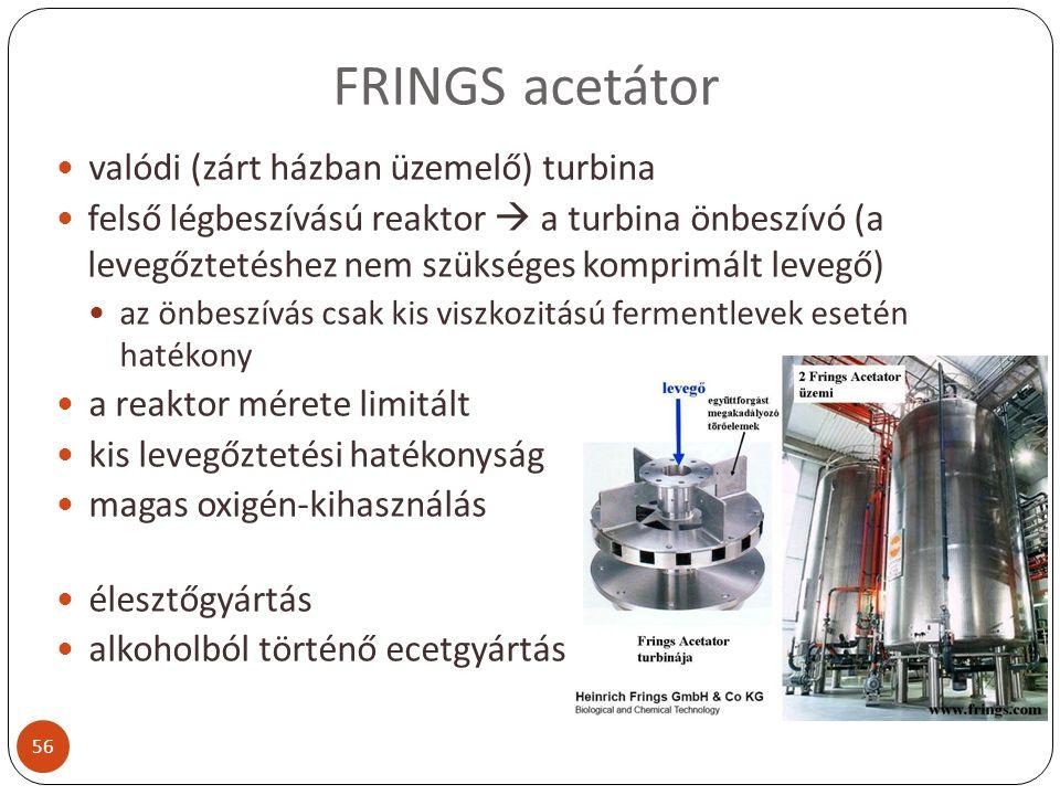 FRINGS acetátor valódi (zárt házban üzemelő) turbina felső légbeszívású reaktor  a turbina önbeszívó (a levegőztetéshez nem szükséges komprimált leve