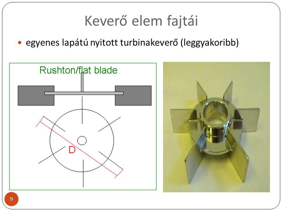Keverő elem fajtái egyenes lapátú nyitott turbinakeverő (leggyakoribb) 9