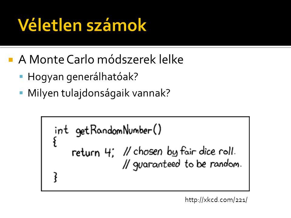  A Monte Carlo módszerek lelke  Hogyan generálhatóak?  Milyen tulajdonságaik vannak? http://xkcd.com/221/