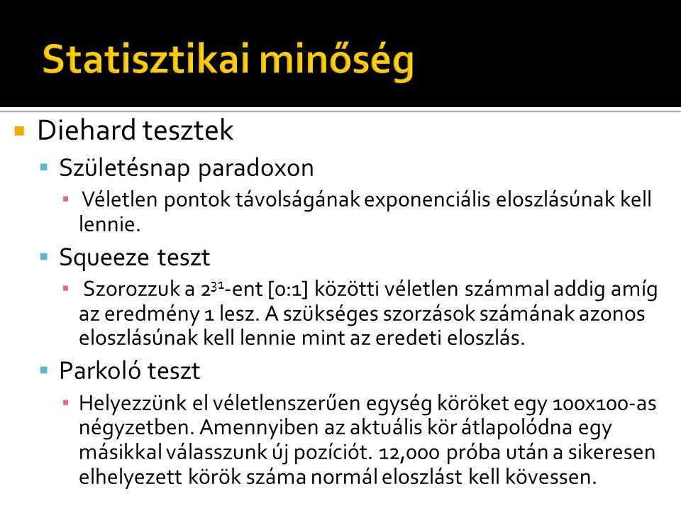  Diehard tesztek  Születésnap paradoxon ▪ Véletlen pontok távolságának exponenciális eloszlásúnak kell lennie.  Squeeze teszt ▪ Szorozzuk a 2 31 -e