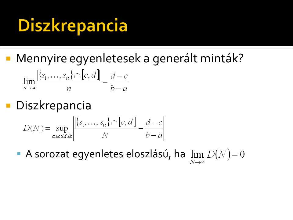  Mennyire egyenletesek a generált minták?  Diszkrepancia  A sorozat egyenletes eloszlású, ha