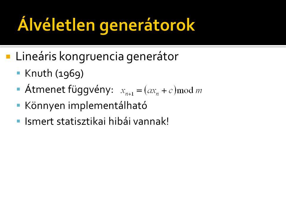  Lineáris kongruencia generátor  Knuth (1969)  Átmenet függvény:  Könnyen implementálható  Ismert statisztikai hibái vannak!