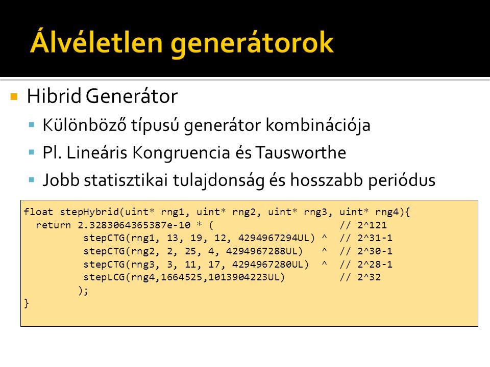  Hibrid Generátor  Különböző típusú generátor kombinációja  Pl. Lineáris Kongruencia és Tausworthe  Jobb statisztikai tulajdonság és hosszabb peri