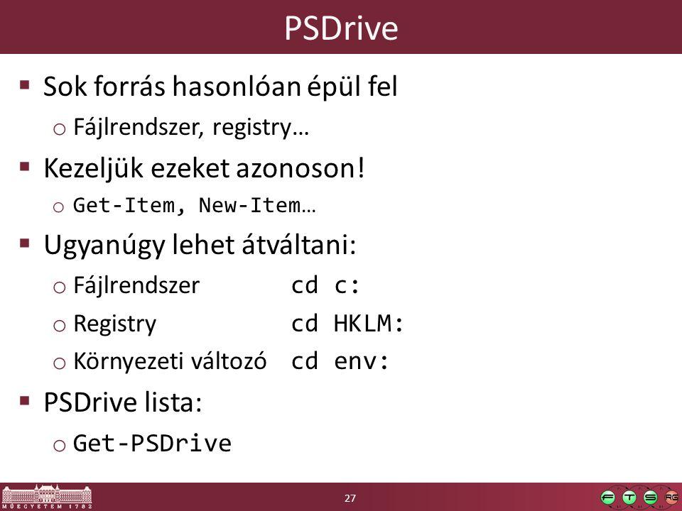 PSDrive  Sok forrás hasonlóan épül fel o Fájlrendszer, registry…  Kezeljük ezeket azonoson.