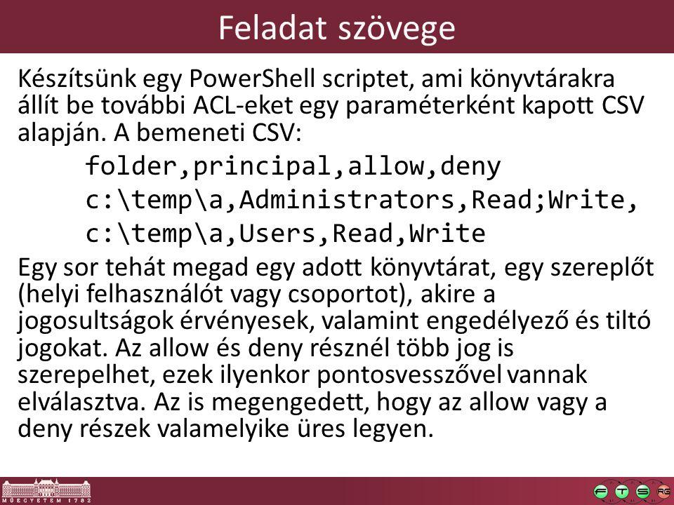 Feladat szövege Készítsünk egy PowerShell scriptet, ami könyvtárakra állít be további ACL-eket egy paraméterként kapott CSV alapján.