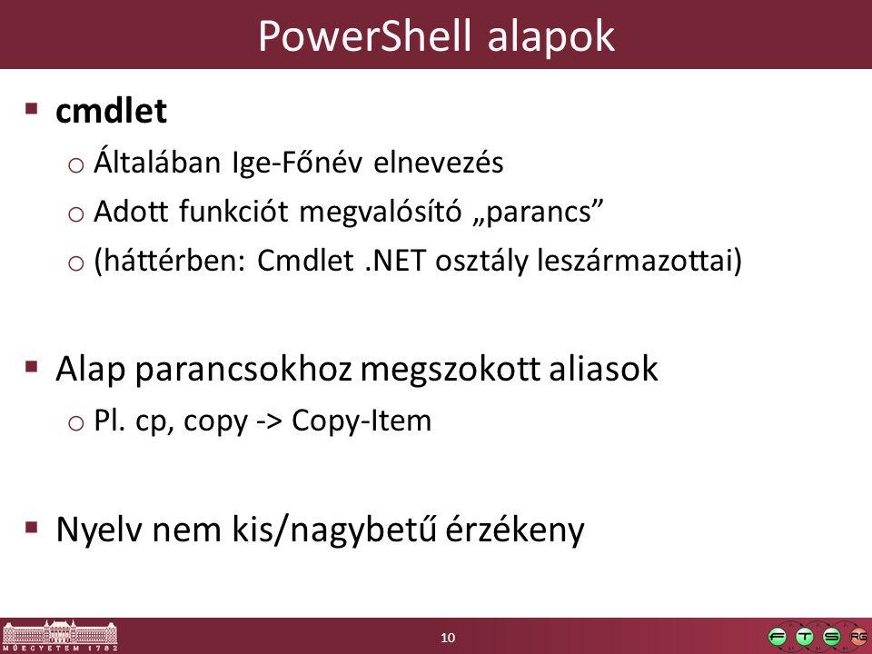"""PowerShell alapok  cmdlet o Általában Ige-Főnév elnevezés o Adott funkciót megvalósító """"parancs o (háttérben: Cmdlet.NET osztály leszármazottai)  Alap parancsokhoz megszokott aliasok o Pl."""