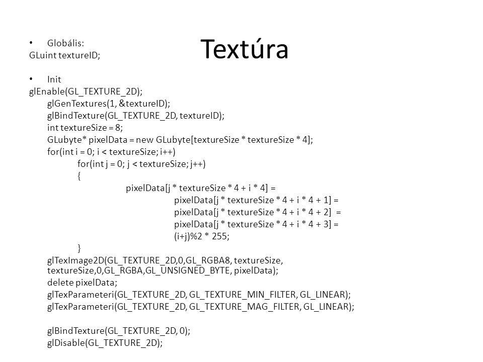 Textúra Globális: GLuint textureID; Init glEnable(GL_TEXTURE_2D); glGenTextures(1, &textureID); glBindTexture(GL_TEXTURE_2D, textureID); int textureSize = 8; GLubyte* pixelData = new GLubyte[textureSize * textureSize * 4]; for(int i = 0; i < textureSize; i++) for(int j = 0; j < textureSize; j++) { pixelData[j * textureSize * 4 + i * 4] = pixelData[j * textureSize * 4 + i * 4 + 1] = pixelData[j * textureSize * 4 + i * 4 + 2] = pixelData[j * textureSize * 4 + i * 4 + 3] = (i+j)%2 * 255; } glTexImage2D(GL_TEXTURE_2D,0,GL_RGBA8, textureSize, textureSize,0,GL_RGBA,GL_UNSIGNED_BYTE, pixelData); delete pixelData; glTexParameteri(GL_TEXTURE_2D, GL_TEXTURE_MIN_FILTER, GL_LINEAR); glTexParameteri(GL_TEXTURE_2D, GL_TEXTURE_MAG_FILTER, GL_LINEAR); glBindTexture(GL_TEXTURE_2D, 0); glDisable(GL_TEXTURE_2D);