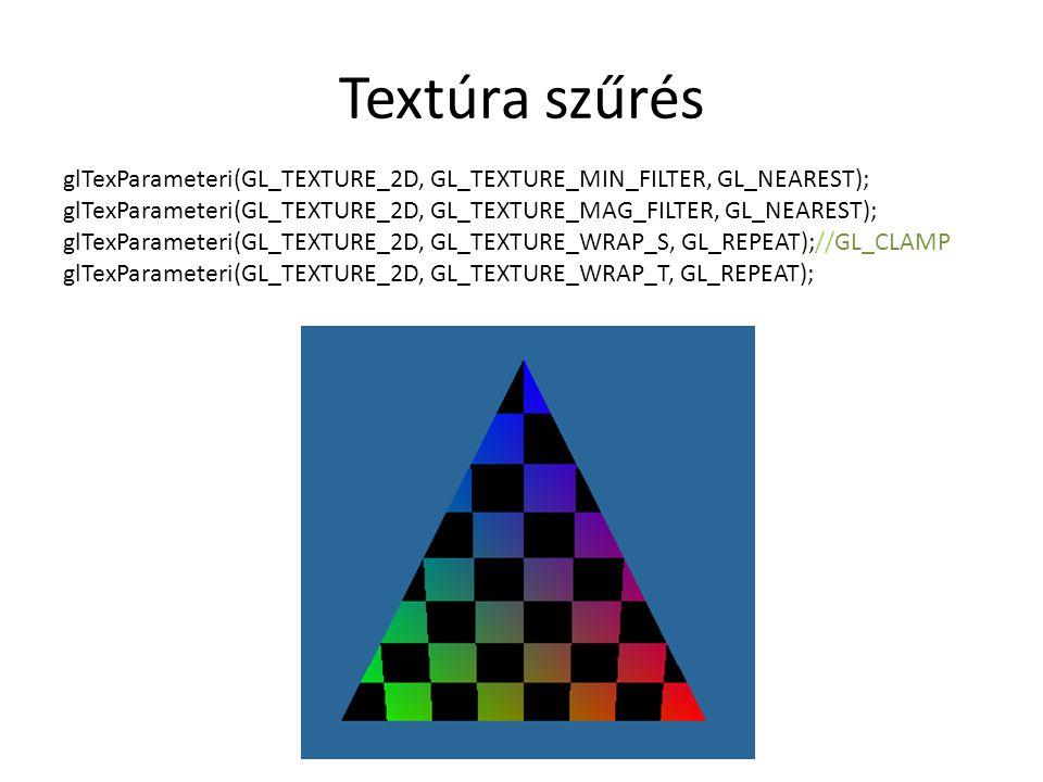 Textúra szűrés glTexParameteri(GL_TEXTURE_2D, GL_TEXTURE_MIN_FILTER, GL_NEAREST); glTexParameteri(GL_TEXTURE_2D, GL_TEXTURE_MAG_FILTER, GL_NEAREST); glTexParameteri(GL_TEXTURE_2D, GL_TEXTURE_WRAP_S, GL_REPEAT);//GL_CLAMP glTexParameteri(GL_TEXTURE_2D, GL_TEXTURE_WRAP_T, GL_REPEAT);