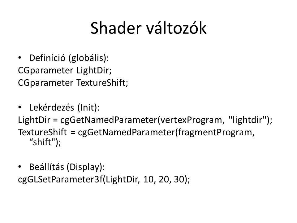Shader változók Definíció (globális): CGparameter LightDir; CGparameter TextureShift; Lekérdezés (Init): LightDir = cgGetNamedParameter(vertexProgram, lightdir ); TextureShift = cgGetNamedParameter(fragmentProgram, shift ); Beállítás (Display): cgGLSetParameter3f(LightDir, 10, 20, 30);
