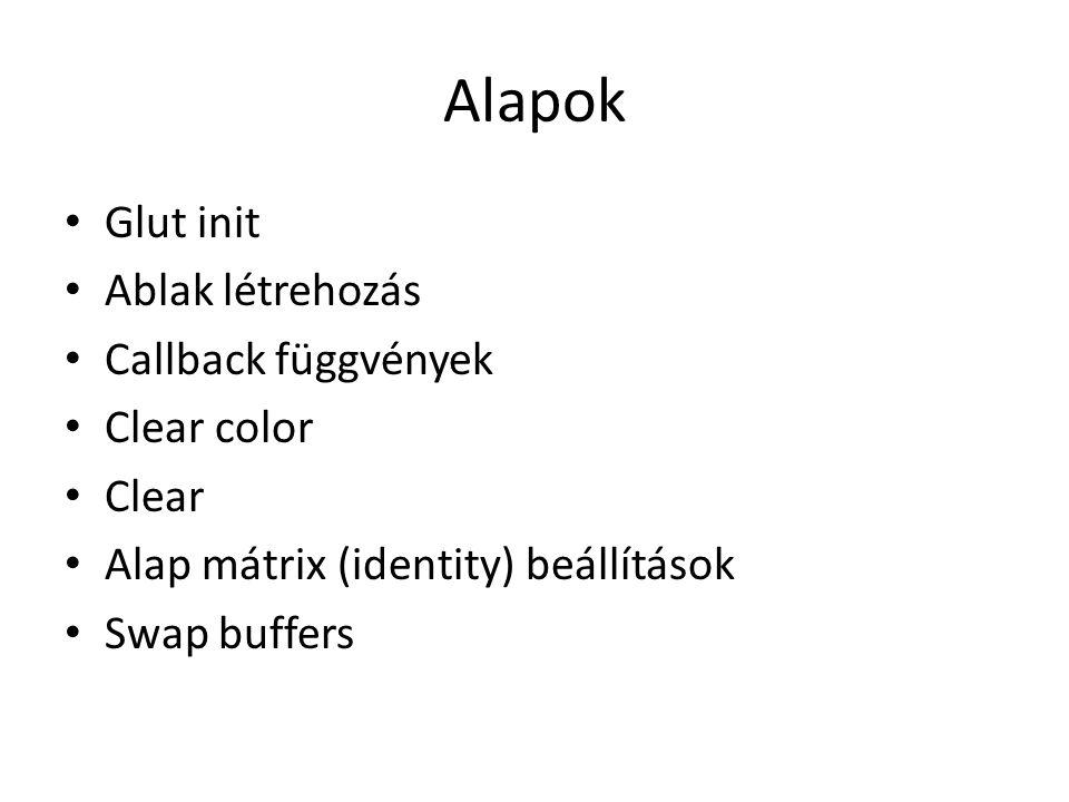 Alapok Glut init Ablak létrehozás Callback függvények Clear color Clear Alap mátrix (identity) beállítások Swap buffers