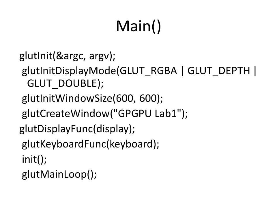 Main() glutInit(&argc, argv); glutInitDisplayMode(GLUT_RGBA | GLUT_DEPTH | GLUT_DOUBLE); glutInitWindowSize(600, 600); glutCreateWindow( GPGPU Lab1 ); glutDisplayFunc(display); glutKeyboardFunc(keyboard); init(); glutMainLoop();