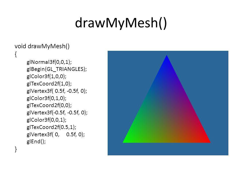drawMyMesh() void drawMyMesh() { glNormal3f(0,0,1); glBegin(GL_TRIANGLES); glColor3f(1,0,0); glTexCoord2f(1,0); glVertex3f( 0.5f, -0.5f, 0); glColor3f(0,1,0); glTexCoord2f(0,0); glVertex3f(-0.5f, -0.5f, 0); glColor3f(0,0,1); glTexCoord2f(0.5,1); glVertex3f( 0, 0.5f, 0); glEnd(); }