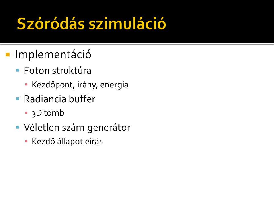  Implementáció  Foton struktúra ▪ Kezdőpont, irány, energia  Radiancia buffer ▪ 3D tömb  Véletlen szám generátor ▪ Kezdő állapotleírás