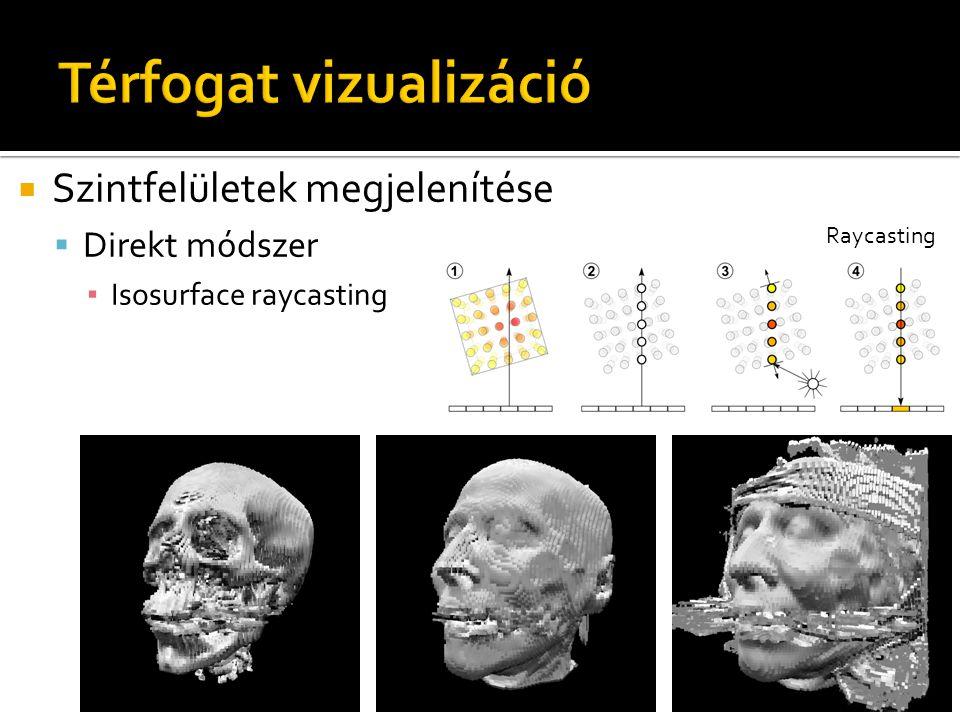  Szintfelületek megjelenítése  Direkt módszer ▪ Isosurface raycasting Raycasting