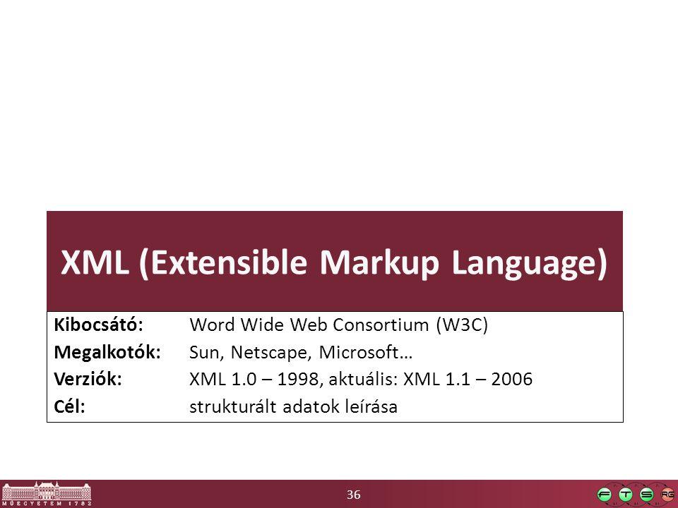 36 XML (Extensible Markup Language) Kibocsátó: Word Wide Web Consortium (W3C) Megalkotók: Sun, Netscape, Microsoft… Verziók: XML 1.0 – 1998, aktuális: