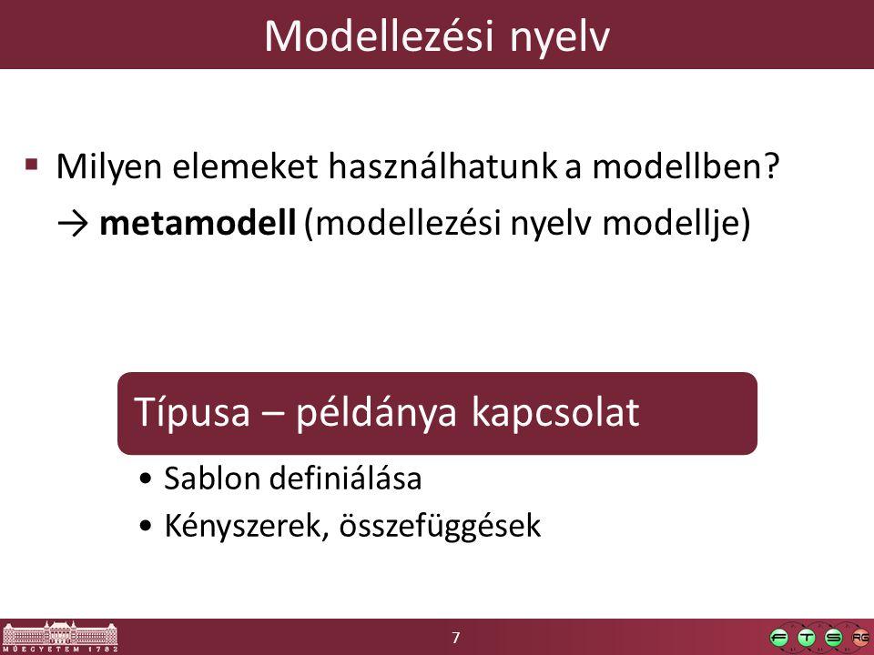 7 Modellezési nyelv  Milyen elemeket használhatunk a modellben? → metamodell (modellezési nyelv modellje) Típusa – példánya kapcsolat Sablon definiál