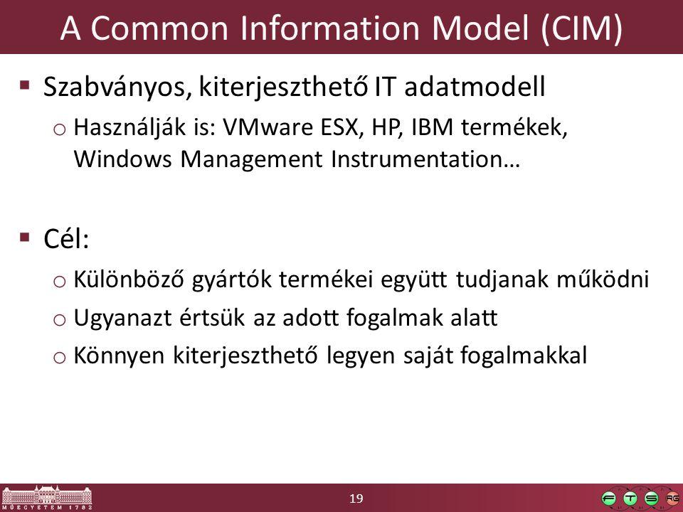 19 A Common Information Model (CIM)  Szabványos, kiterjeszthető IT adatmodell o Használják is: VMware ESX, HP, IBM termékek, Windows Management Instrumentation…  Cél: o Különböző gyártók termékei együtt tudjanak működni o Ugyanazt értsük az adott fogalmak alatt o Könnyen kiterjeszthető legyen saját fogalmakkal