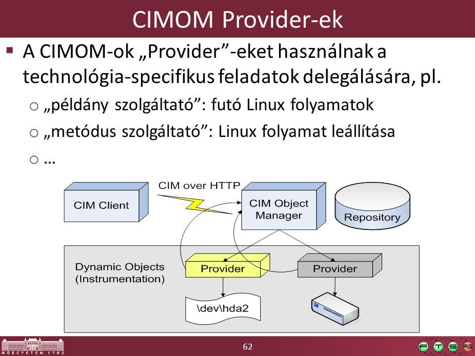 """62 CIMOM Provider-ek  A CIMOM-ok """"Provider -eket használnak a technológia-specifikus feladatok delegálására, pl."""