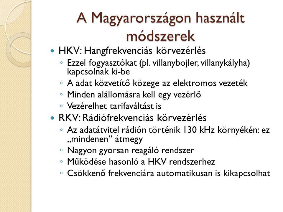 A Magyarországon használt módszerek HKV: Hangfrekvenciás körvezérlés ◦ Ezzel fogyasztókat (pl. villanybojler, villanykályha) kapcsolnak ki-be ◦ A adat