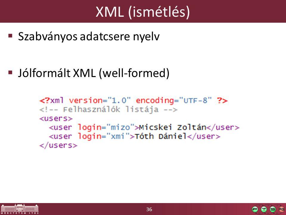 36 XML (ismétlés)  Szabványos adatcsere nyelv  Jólformált XML (well-formed)