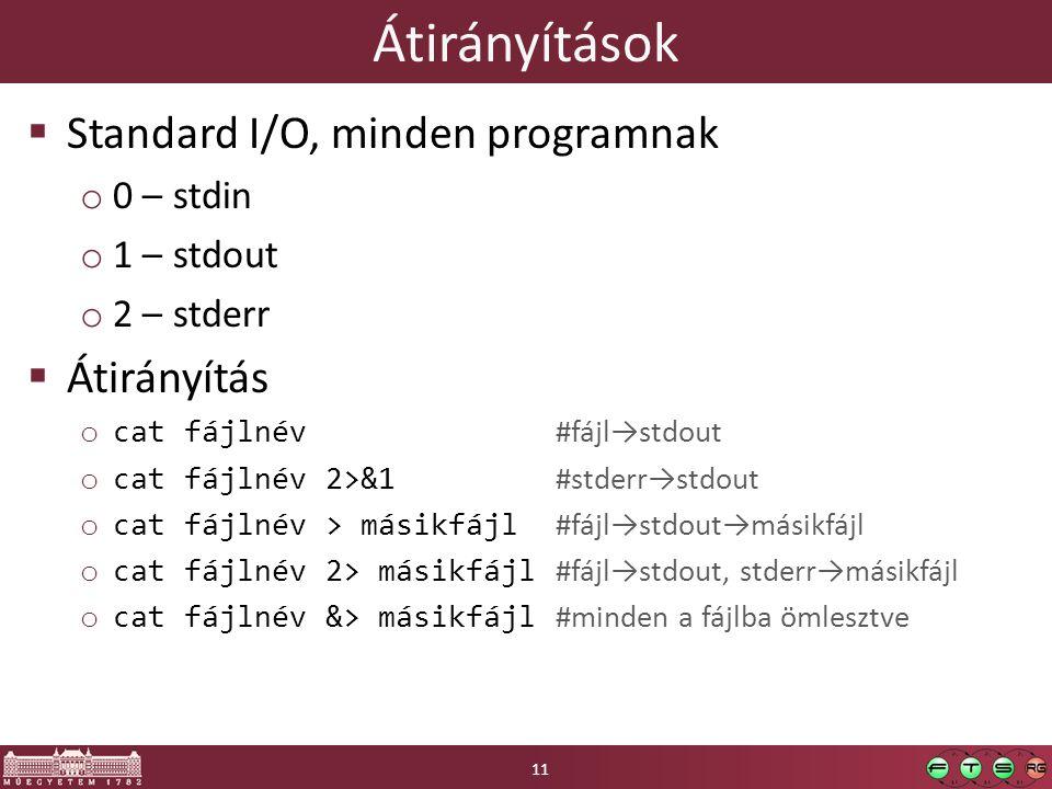 Átirányítások  Standard I/O, minden programnak o 0 – stdin o 1 – stdout o 2 – stderr  Átirányítás o cat fájlnév #fájl→stdout o cat fájlnév 2>&1 #stderr→stdout o cat fájlnév > másikfájl #fájl→stdout→másikfájl o cat fájlnév 2> másikfájl #fájl→stdout, stderr→másikfájl o cat fájlnév &> másikfájl #minden a fájlba ömlesztve 11