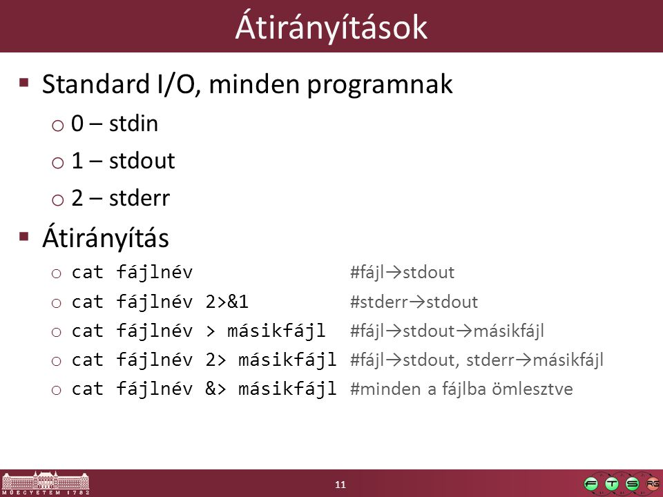 Átirányítások  Standard I/O, minden programnak o 0 – stdin o 1 – stdout o 2 – stderr  Átirányítás o cat fájlnév #fájl→stdout o cat fájlnév 2>&1 #std