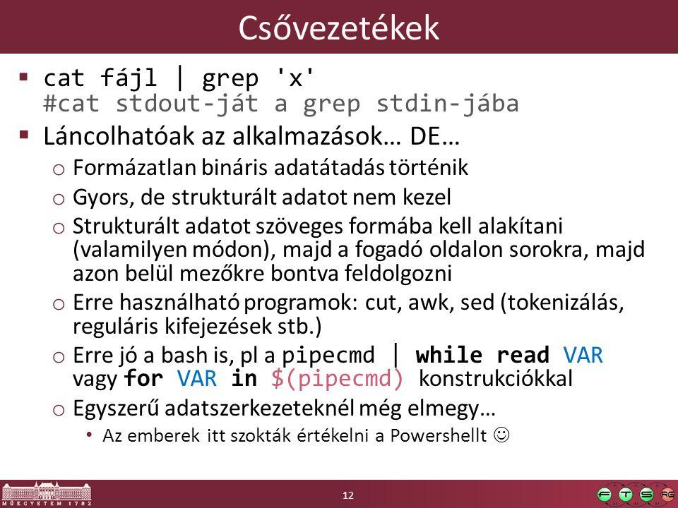 Csővezetékek  cat fájl | grep 'x' #cat stdout-ját a grep stdin-jába  Láncolhatóak az alkalmazások… DE… o Formázatlan bináris adatátadás történik o G
