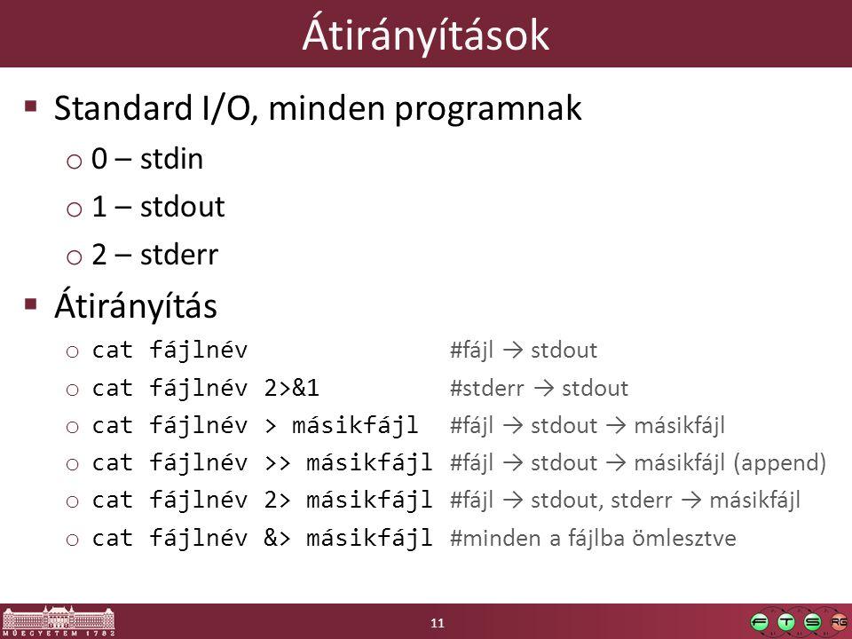 Átirányítások  Standard I/O, minden programnak o 0 – stdin o 1 – stdout o 2 – stderr  Átirányítás o cat fájlnév #fájl → stdout o cat fájlnév 2>&1 #stderr → stdout o cat fájlnév > másikfájl #fájl → stdout → másikfájl o cat fájlnév >> másikfájl #fájl → stdout → másikfájl (append) o cat fájlnév 2> másikfájl #fájl → stdout, stderr → másikfájl o cat fájlnév &> másikfájl #minden a fájlba ömlesztve 11