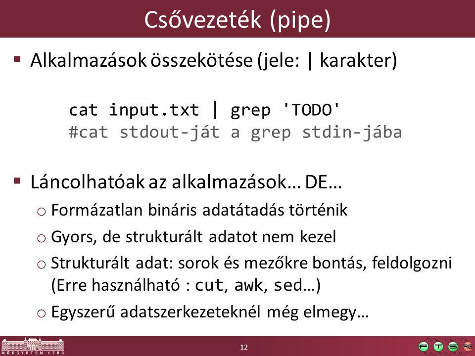 Csővezeték (pipe)  Alkalmazások összekötése (jele: | karakter)  Láncolhatóak az alkalmazások… DE… o Formázatlan bináris adatátadás történik o Gyors, de strukturált adatot nem kezel o Strukturált adat: sorok és mezőkre bontás, feldolgozni (Erre használható : cut, awk, sed …) o Egyszerű adatszerkezeteknél még elmegy… 12 cat input.txt | grep TODO #cat stdout-ját a grep stdin-jába