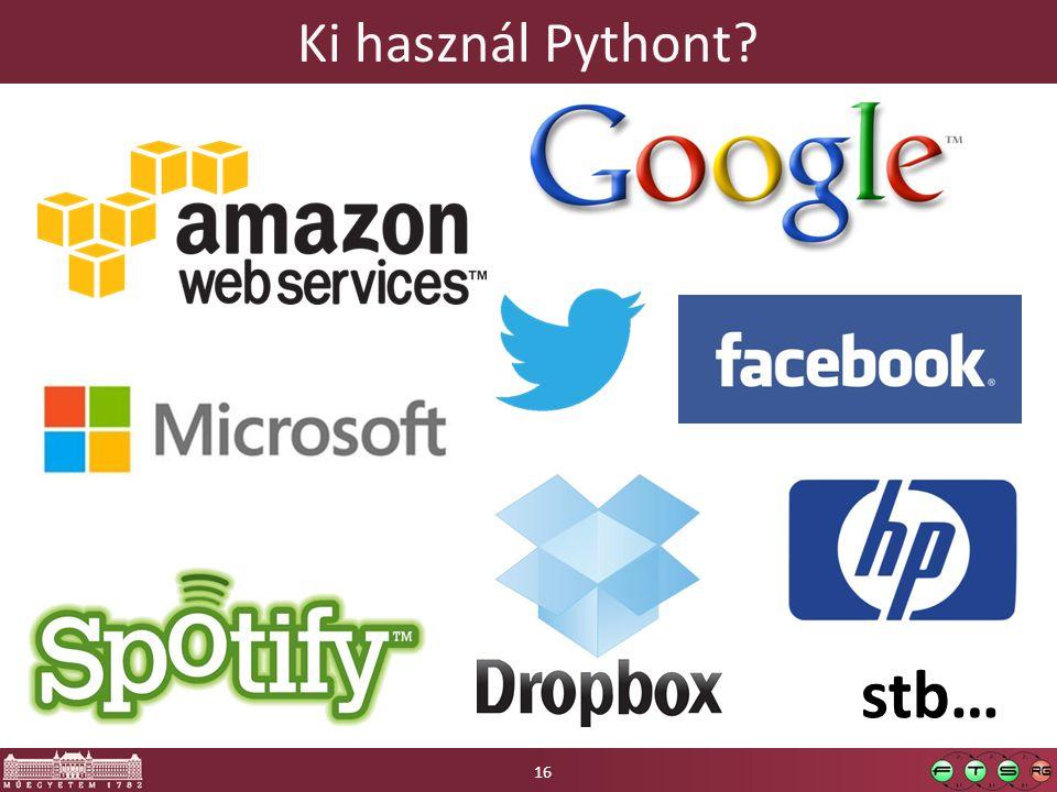 Ki használ Pythont 16 stb…