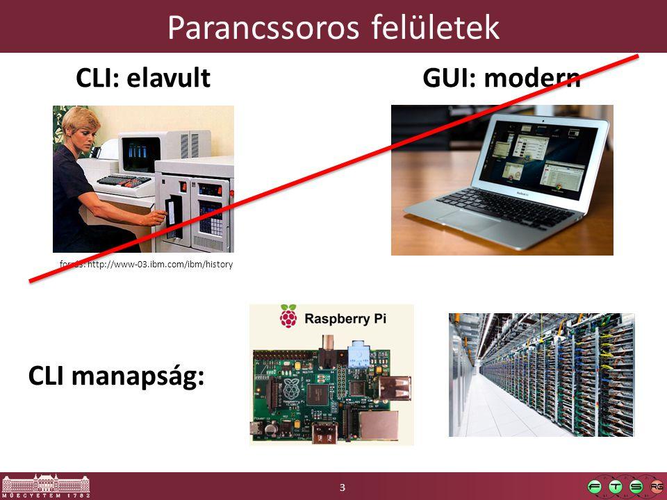 Parancssoros felületek 3 CLI: elavult forrás: http://www-03.ibm.com/ibm/history GUI: modern CLI manapság: